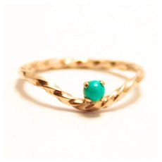 Vintage 1984 Hallmarked 9 K Rose Gold Twist Ring with Turquoise Stone