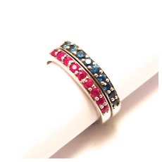 Vintage Stacked Pair of Ruby and Sapphire Sterling Silver Rings