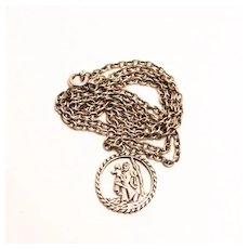 Vintage Saint Christopher Sterling Silver Pendant and Chain
