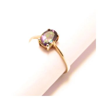 Vintage Silver Gold Gilt Tourmaline Stone Oval Faceted Ring