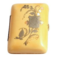 Art Nouveau Celluloid Purse with Silver and Mother of Pearl Inlay