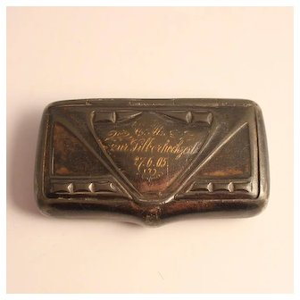 Art Nouveau Snuff Box Pewter Gold leaf Inscribed 1905