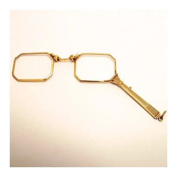 Art Deco Double Gold French French Guilloche Lorgnette Eye Glass with Handle