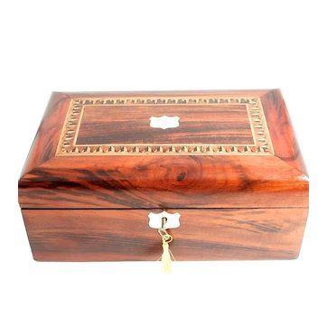 Victorian Jewellery Box Walnut Parquetry Inlay Mother of Pearl Cartouche and Escutcheon