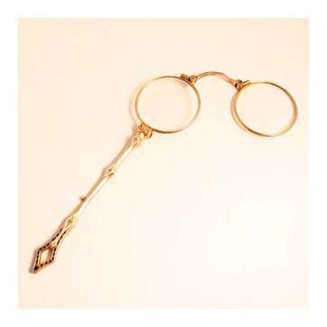 1890 Enamel and Gold Plate French Lorgnette Eye Glasses with Handle