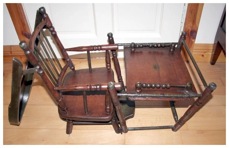 Victorian Rare and Unique Dolls Multi Purpose High Chair converts into Play  Desk 19c Hard Wood - Victorian Rare And Unique Dolls Multi Purpose High Chair Converts