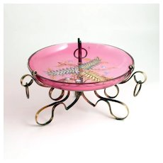 Napoleon III Pink Ruby Glass Coupe with Impasto Enamel Decoration on Bronze Stand S917