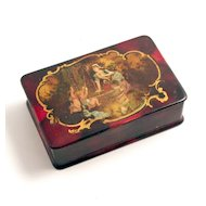 1885 Papier Mache Lacquered Box with Cherubs Angels Putti S917