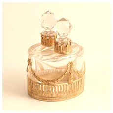 A Rare French Charles X 1830 Pair of Elliptical Scent Bottles  in Ormolu and Baccarat Crystal Glass  S917