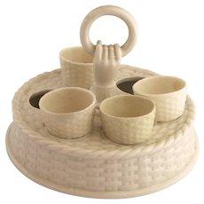 Antique Belleek Irish Parian Porcelain Egg Cup Stand 1891-1926 S917