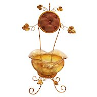 A Beautiful  Napoleon III Paris  Amber Glass  and Ormolu Signed Jewellery and Watch Stand for your Dressing Table S917