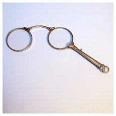 Antique 1880 French Double Gold Pendant Lorgnette Eye Glasses Spectacles with Handle S817