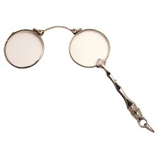 Antique Enamel Lorgnette French Eye Wear Glasses 1900 Stock Ref S817