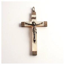 1887 French Silver and Mother of Pearl Crucifix Cross S817