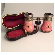 1870 Antique French Enamel Opera Glasses in Excellent Condition with Case S817