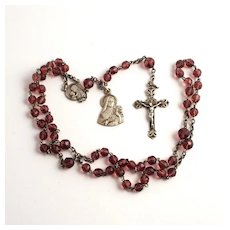 1920 Saint Therese French Silver Glass Amethyst Ladies Rosary Beads in Mother of Pearl Egg Case S817