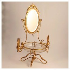 Napoleon III period  Palais Royal 1850 French Dressing Table Jewellery Accessory with Swivel Mirror and  St Louis Etched Glass Bowl and Candlesticks S917