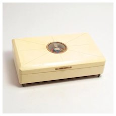 Vintage French 1960 Reproduction of Georgian 1760 Music Box with Miniature Portrait S817