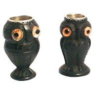 An Antique Pair of 1850 Irish Bog Oak Thimble Holder Owls sewing Accessories S817