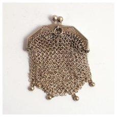Antique French  Silver Porte Monai Debutant's Purse 1860 Pendant S817