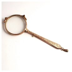 1870 Gold Plated French Lorgnette with Acanthus Decorations on Handle S817