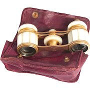 Antique French Opera Glasses Colmont of Paris Mother of Pearl Leather Purse S817