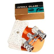 Vintage 1960s Japanese Opera Glasses Unused with Purse Mother of Pearl and Silver Chrome S817