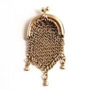 1860 Miniature Silver French Fashion Doll's Pendant Purse S817