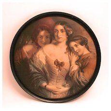 Victorian Color Print of the Bronte Sisters Writers Literary Picture S817