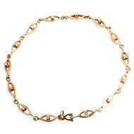 Vintage Jewellery Bracelet 14 Karat Gold with 14 Diamonds Stock Ref S817