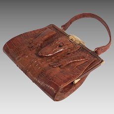Edwardian 1910 Crocodile Skin Hand Bag in excellent Condition S817