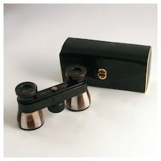 Vintage Opera Glasses Mother go Pearl and Abalone Shell Enamel German with Leather Original Case S817