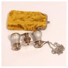 1860 Signed Paris Opera Glasses with Original Citron Velvet Purse and Chain S817