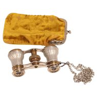 1860 Signed Paris Opera Glasses with Original Citron Velvet Purse and Chain S817