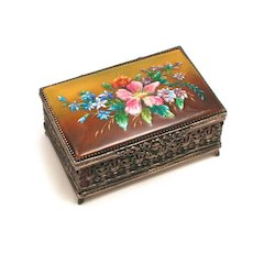 Signed Vintage Fauré Limoges France Enamel Jewellery Box Year 1937 S817