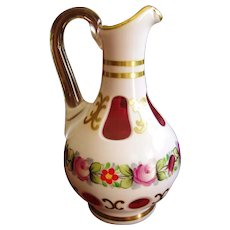 Moser Cased Art Glass White & Cranberry Cruet - marked - Red Tag Sale Item