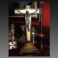 Vintage Religious Icon - Self Standing Wood & Metal Crucifix