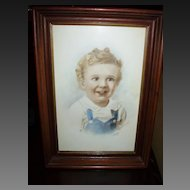 Vintage Pastel of a Young Child Signed & Dated Leighton - 1945