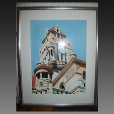 """Herb Rather Watercolor on Paper """"Courthouse Tower"""""""