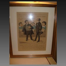 Fine Lavrate 19th Century Hand Colored French Cartoon