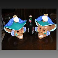 Vintage set of 2 large Mexican Skull Candle Holders
