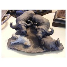 Vintage African Stone Sculpture - 3 Water Buffalo