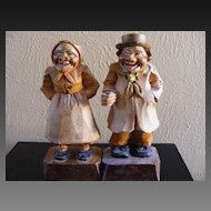 Hand Wood Carved Folk Art Old Man and Woman