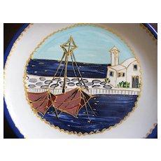 2 Hand Painted Euroglass Collectors Plates Mediterranean Scene