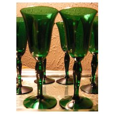 Vintage Set of 10 Emerald Green Cordials
