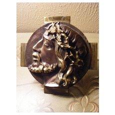 Vintage Patinated Brass Plaque of Jesus