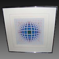 Victor Vasarely Vega in Blue Hand Signed Numbered Serigraph limited edition of 250