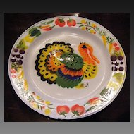 Neat old Tole Style Stencil Painted Enamelware Turkey Plate