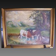 Thomas Lindsay Oil Painting Signed, Cows in a Stream