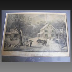 "Antique 1868 Currier & Ives Hand Colored Lithograph ""American Homestead Winter"""